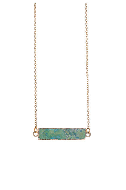 Rectangle turquoise bar necklace