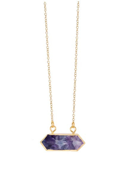 rectangular geo amethyst necklace