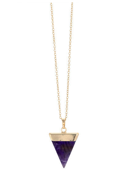 Amethyst triangle and gold pendant