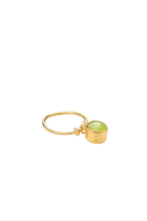 21ct Lime Agate Stone Charm Ring