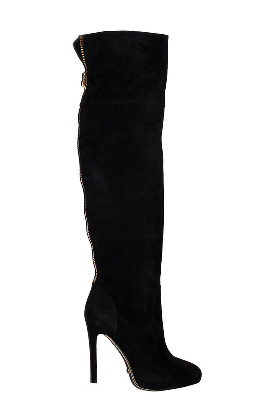 d58c48bc7b7 4 inch Heels - Black suede over the knee high heel boots - Angelina  Voloshina -