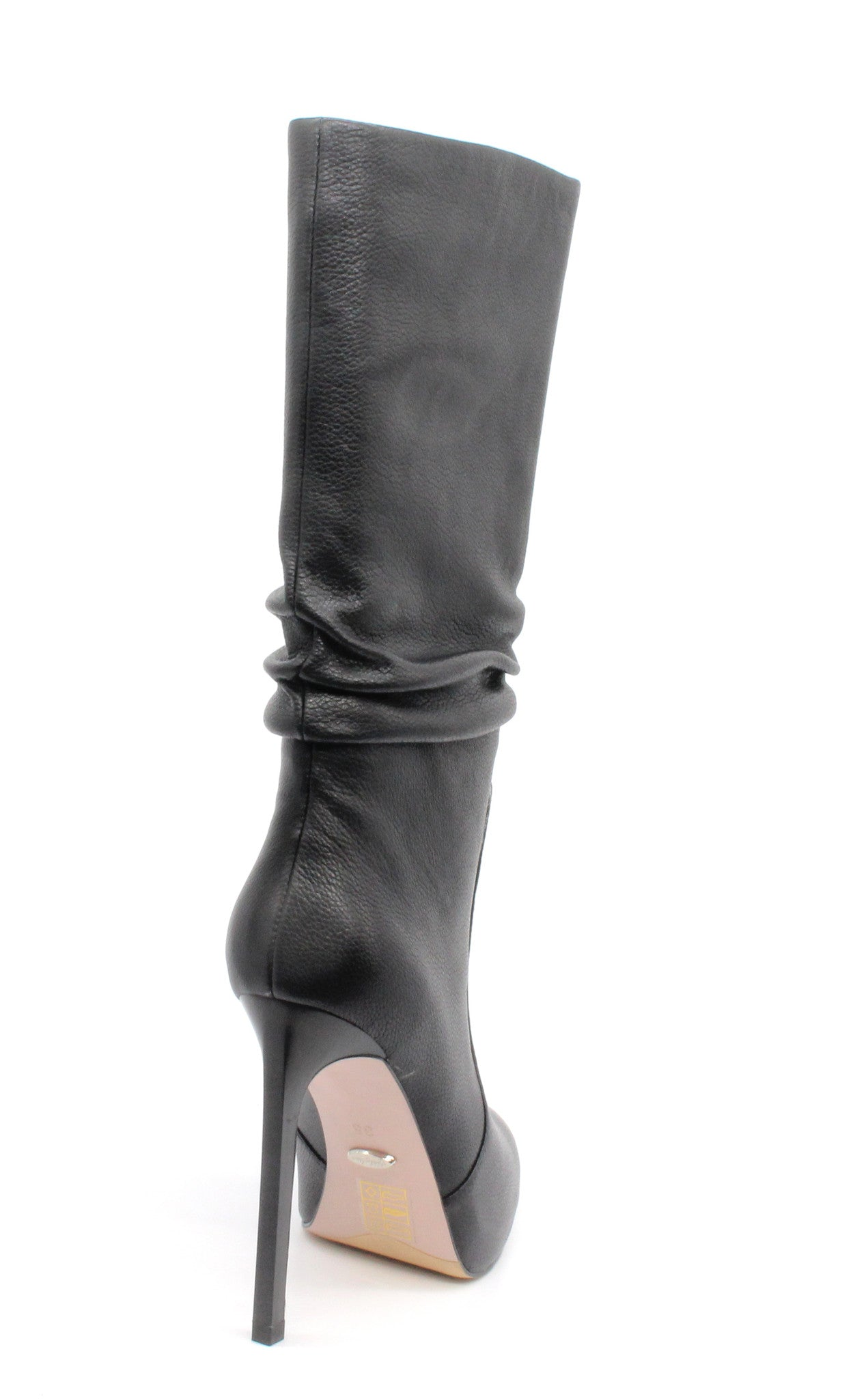 0265b4a98fa ... Black High Top Boots - 5 inch Leather Heels - Angelina Voloshina - AV  Heels ...