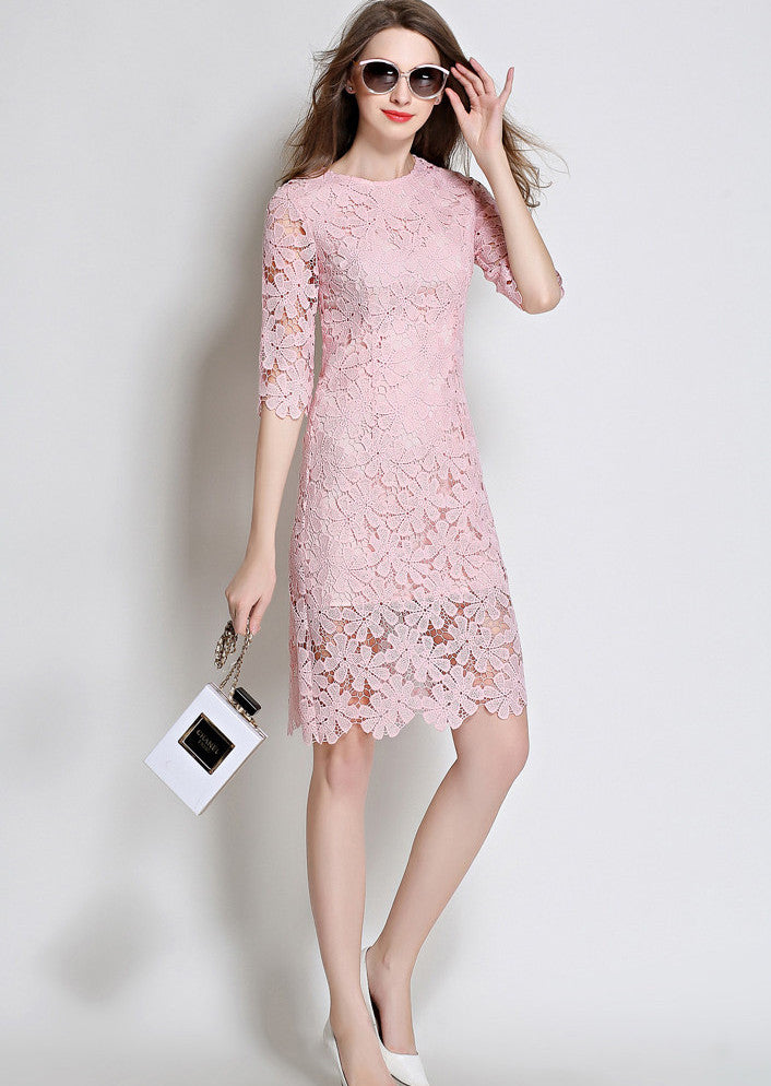 8810a89b79bc Classy Lace Boutique Dress - Pink  White  Black - Angelina Voloshina - AV  Heels ...
