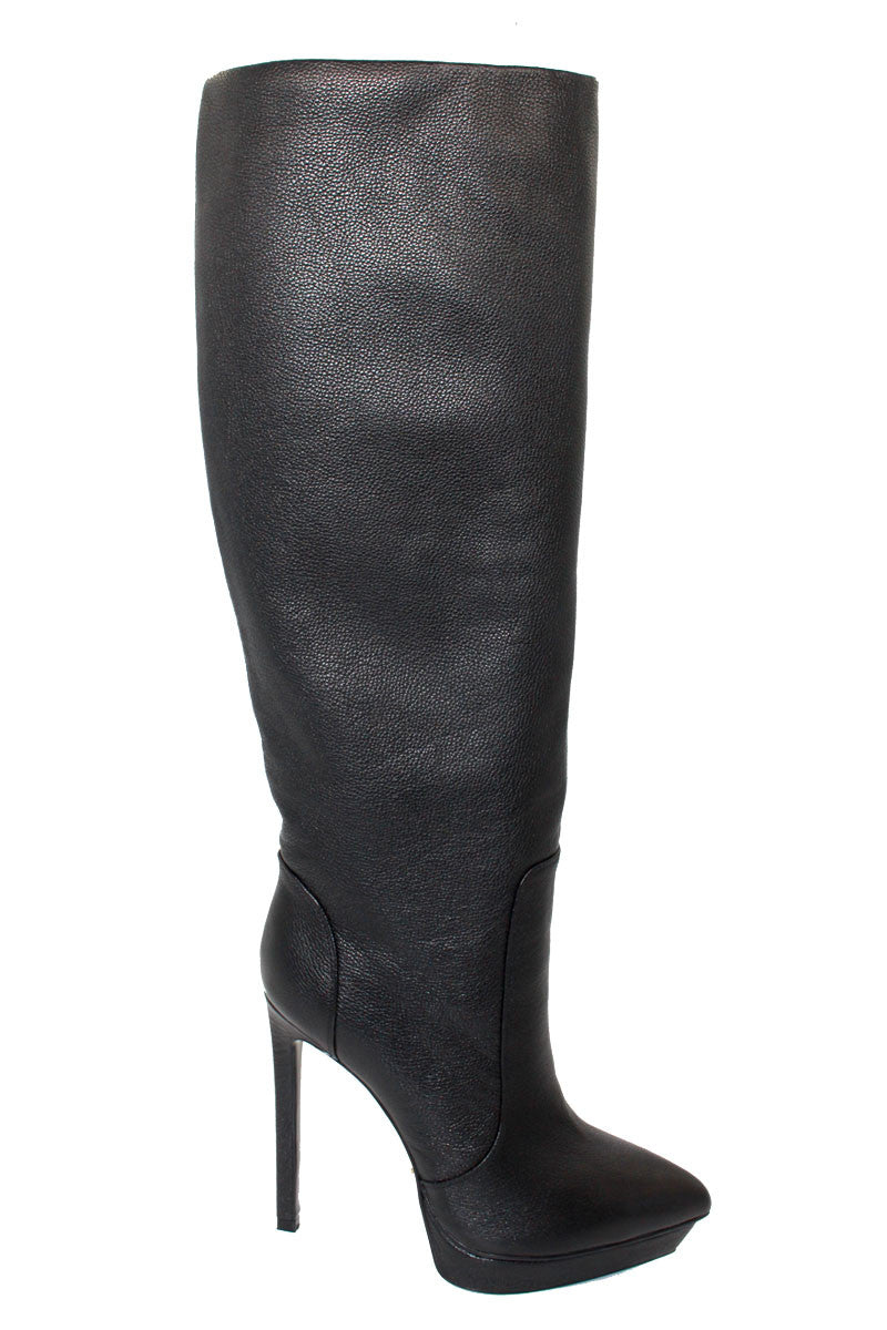 0217b09f370 Black Fall Boots - 5 inch High Heel Leather Boots - Angelina Voloshina - AV  Heels ...
