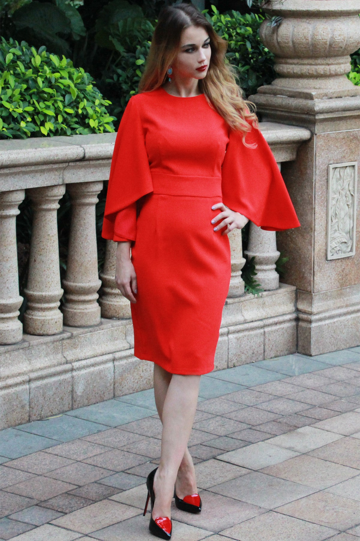 Boutique Dress - Sleeved Red Cocktail Dress | AV HEELS - AVHEELS