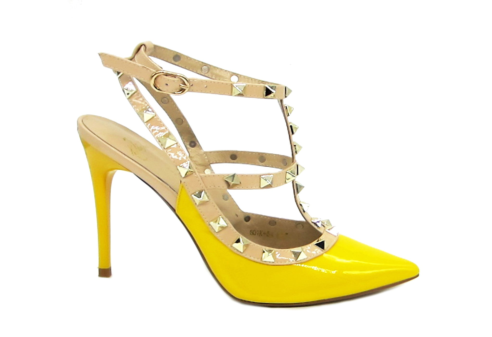 434402bdf6 Stylish Shoes - Yellow Rockstud Slingback Sandals - Angelina Voloshina - AV  Heels - 1 ...