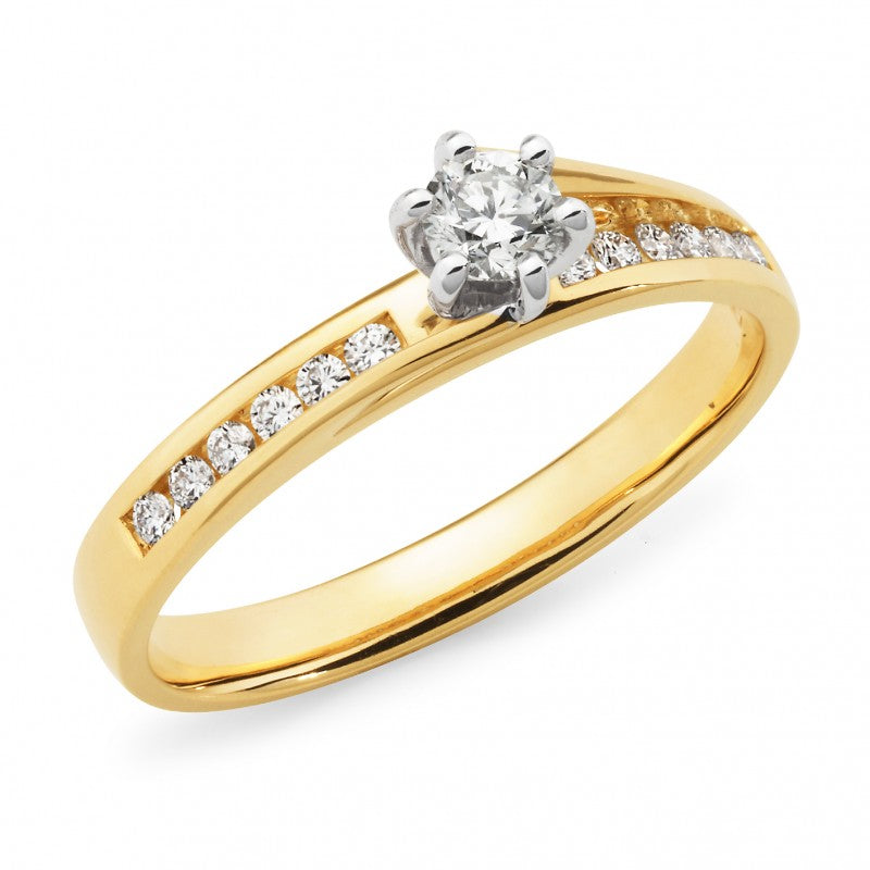 9ct Yellow Gold Diamond Claw/Channel Set Shoulder Stone Engagement Ring