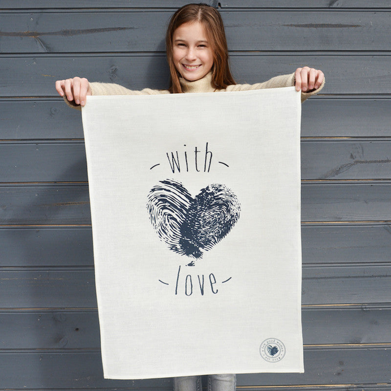 'with love' tea towel