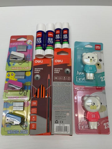 Deli 2B pencil , Deli Glue Stick , Correction Tape Sets