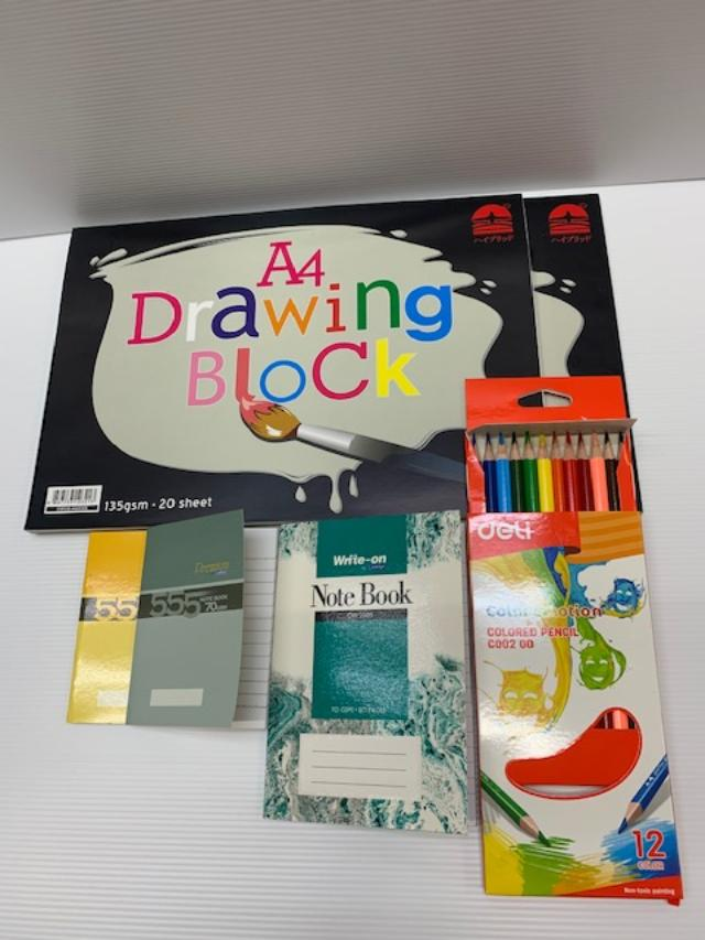 Deli A4 Drawing Block , Colour Pencil N Note Book Sets