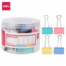 E8551A DELI COLOR BINDER CLIP (12PCS/TUB)