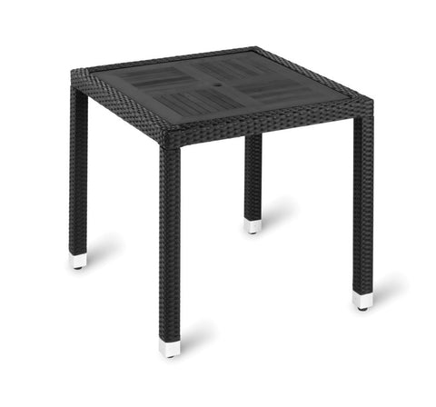 Geneva No Wood Top Table – Square Black Wood Effect 800mm square