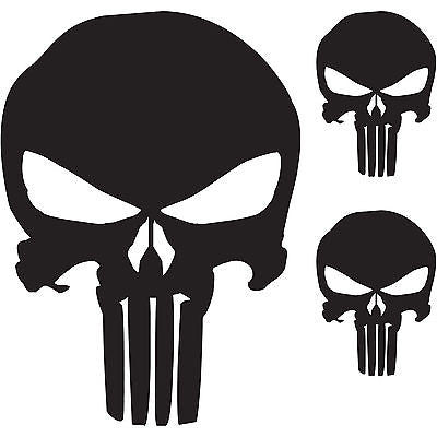 "(3x) The Punisher Skull Vinyl Decal Window Sticker Marvel Comics (6""/2""/2"")"