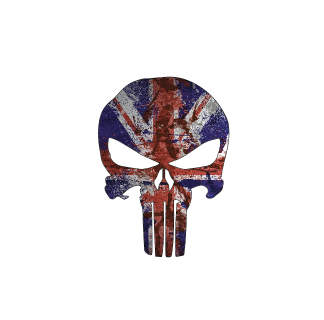 Punisher - British Flag, Full Color Die Cut Decal/Sticker