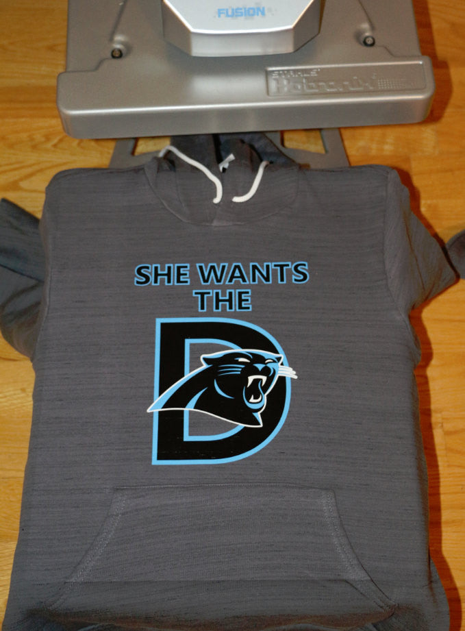 "Carolina Panthers ""She Wants The D"" Womens Hoodie"