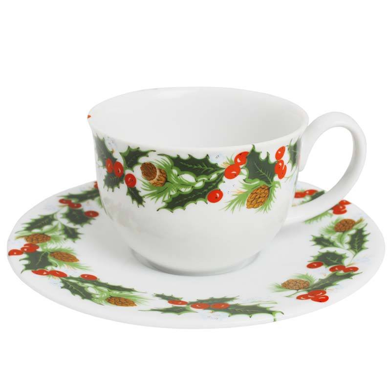 Christmas Teacup with Saucer