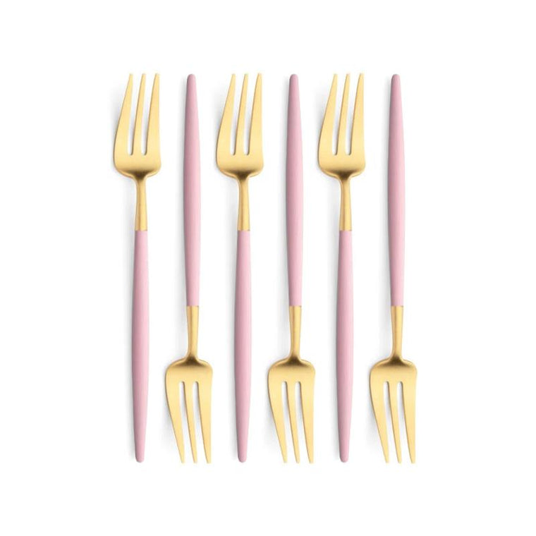 Cutipol Goa Pink Gold 6 Pastry Forks