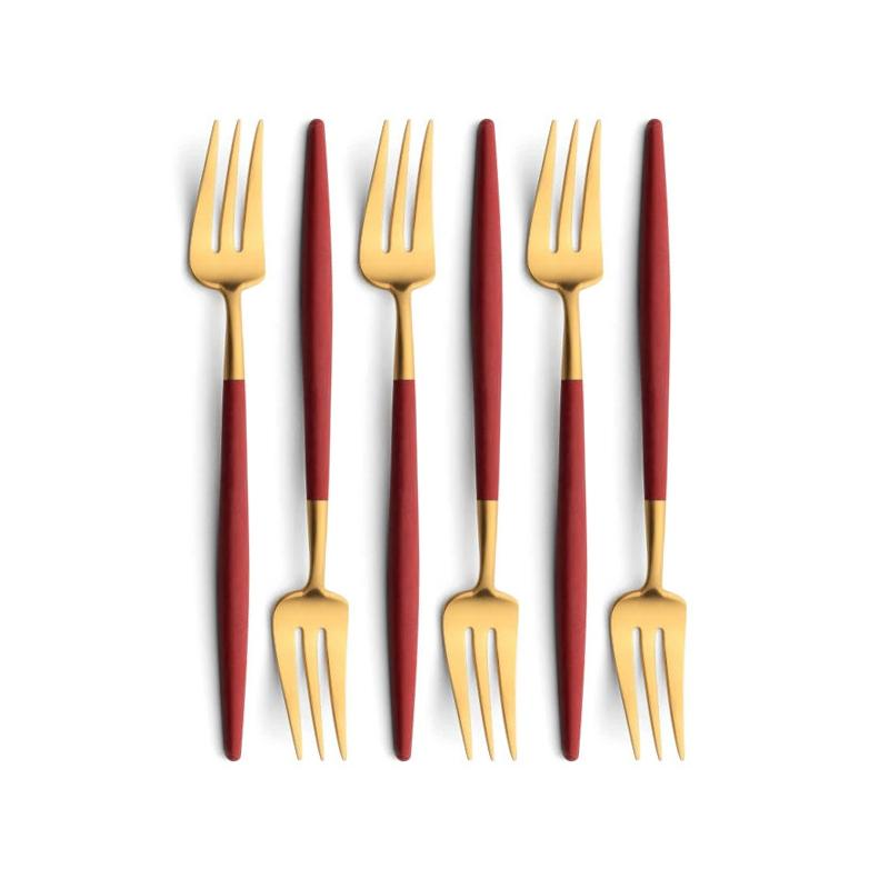 Cutipol Goa Red Gold 6 Pastry Forks