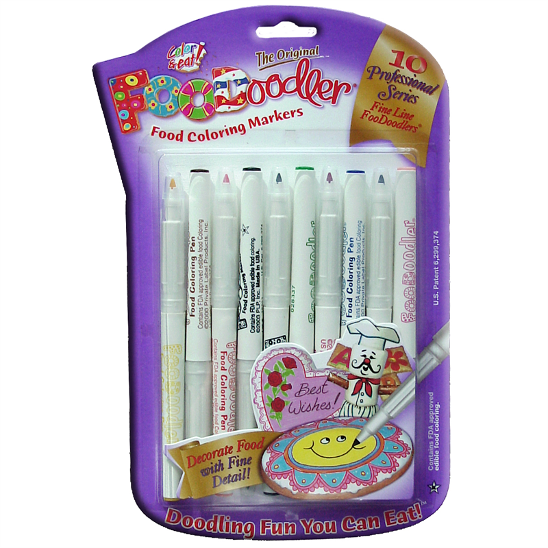 FooDoodler Fine Tip Edible Pens , 10 Assorted Colours. ( NEW )