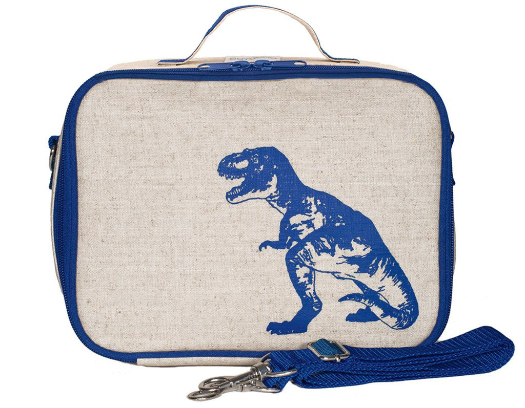 So Young Insulated lunch box -  BLUE DINO - Raw linen  ( NEW)