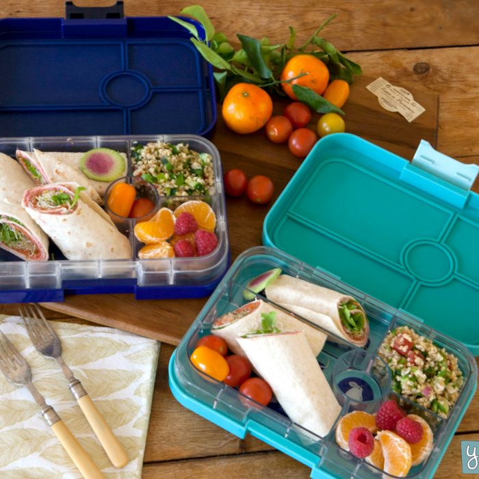 Yumbox Tapas (4 compartment) ~ Antibes Blue with Flamingo tray ( NEW )