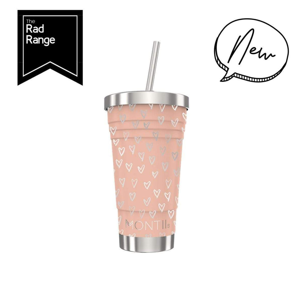 Montii Smoothie Cup ~ Peachy Hearts Print ( NEW )