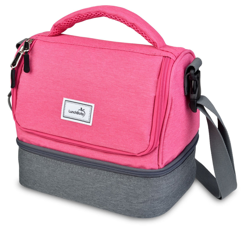LunchBots Duplex Lunch Bag - Gray and pink ( NEW DESIGN)