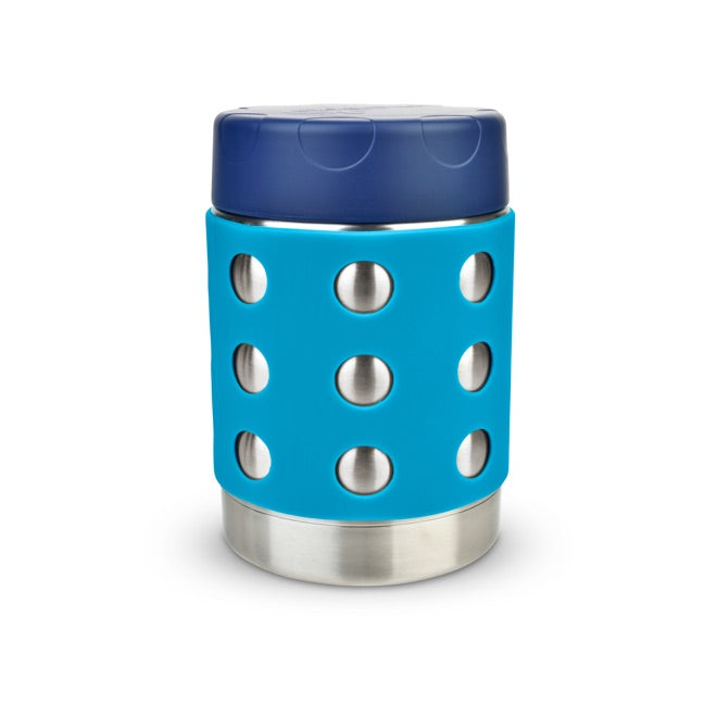 LunchBots Thermal dot Stainless Steel Insulated Food Jar - Navy/Aqua - 12 oz. - 350ml
