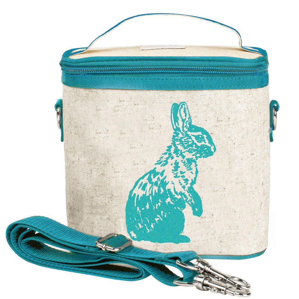 So Young Insulated Cooler Bag Small - Aqua Bunny - Raw Linen ( NEW)