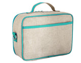 So Young Insulated lunch box - Aqua Bunny - Raw Linen ( NEW)