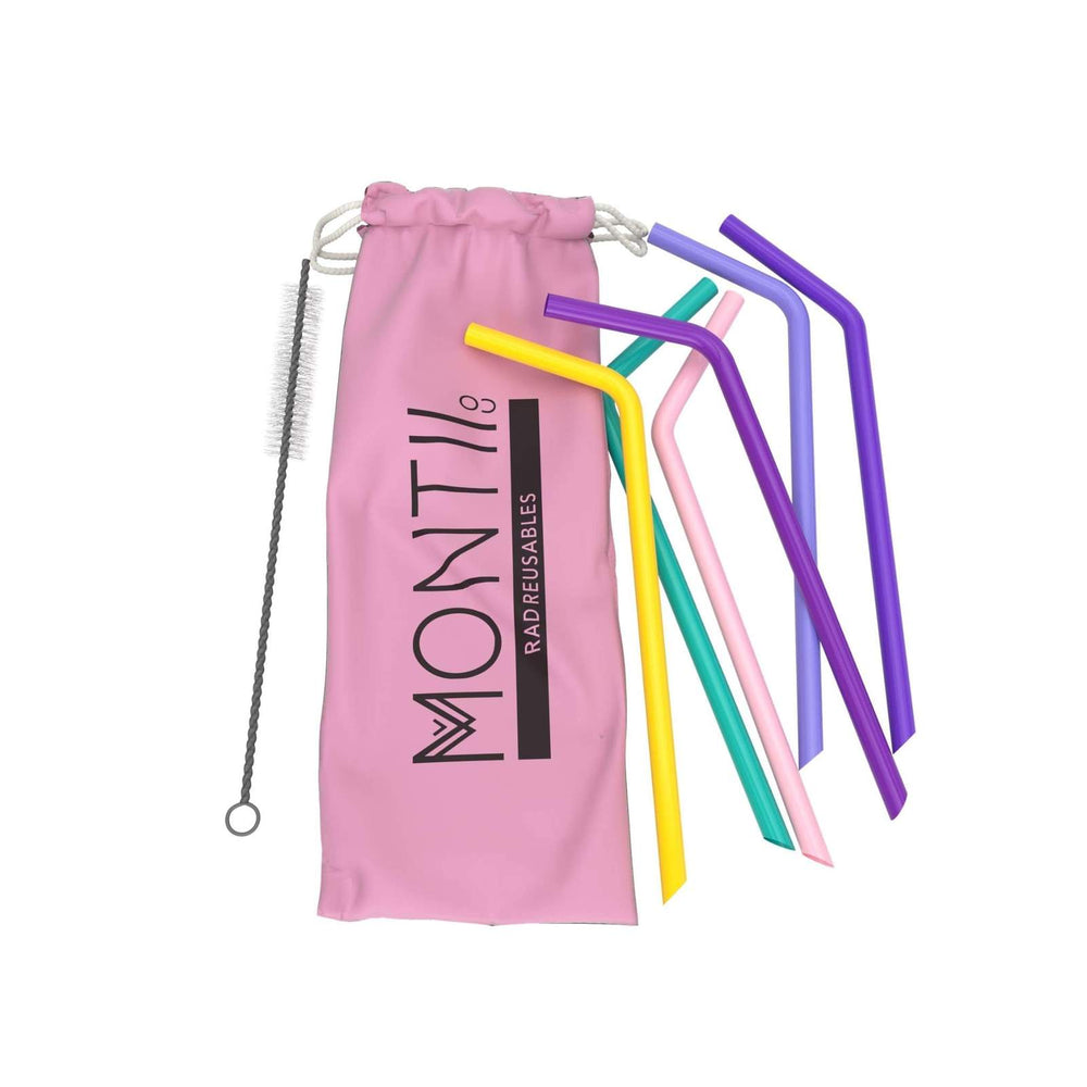 Montii Co Reusable Silicone Straws PINK SET ( 6 Pack)