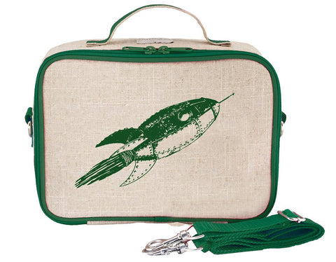 So Young Insulated lunch box - Green Rocket - Raw Linen ( NEW)