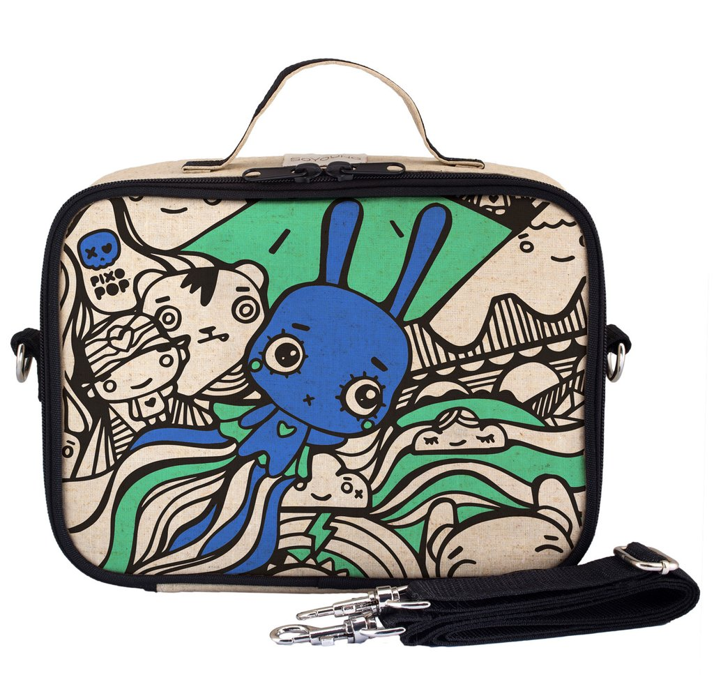 So Young Insulated lunch box - Pixopop Flying Stitch Bunny- Raw Linen