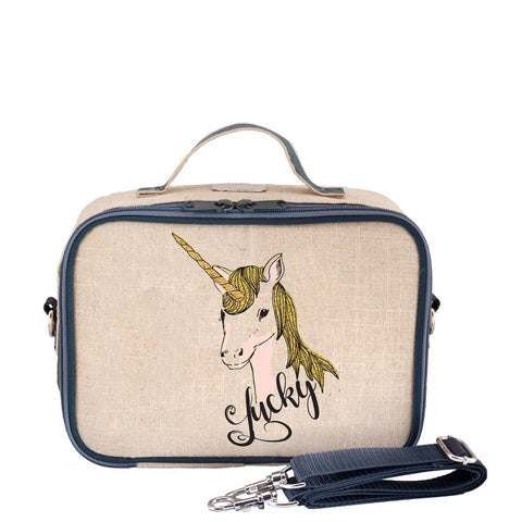So Young Insulated lunch box - Lucky Unicorn - Raw linen  ( NEW)
