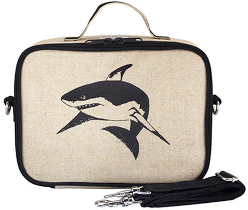 So Young Insulated lunch box - Black Shark - Raw Linen ( NEW)