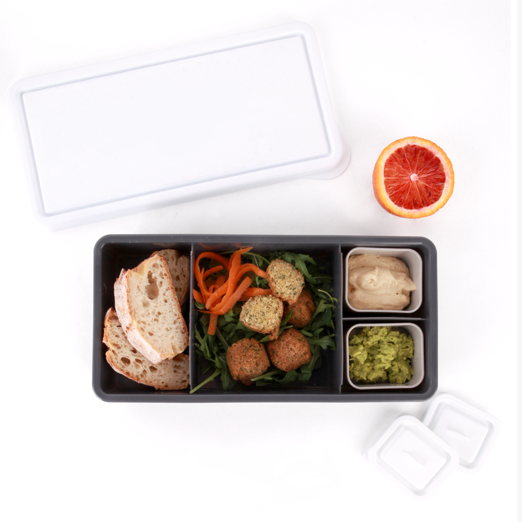 Love Mae Lunch Box Charcoal Base with White Lid