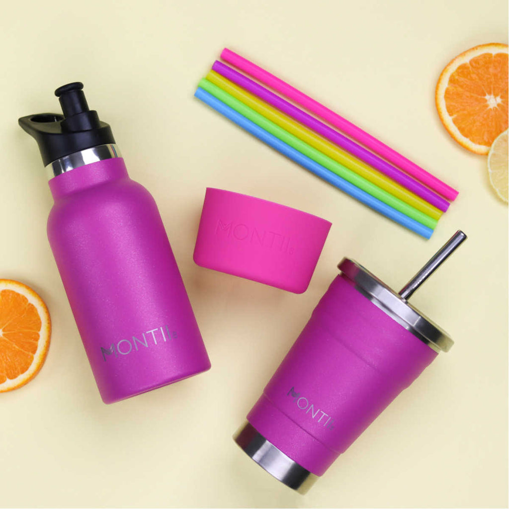Mini Montii Magenta Glitter Insulated Bottle 350ml ( NEW )
