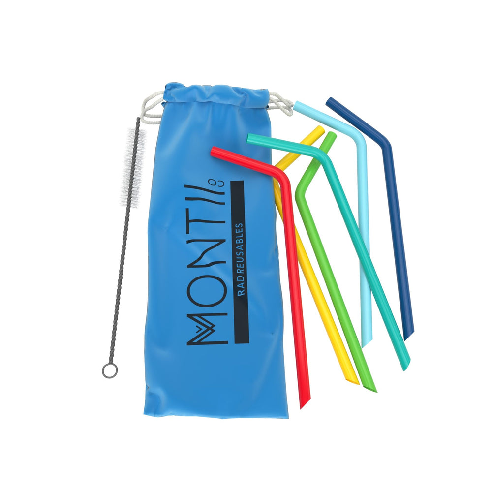 Montii Co Reusable Silicone Straws BLUE SET ( 6 Pack)