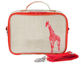 So Young Insulated lunch box - Orange neon Giraffe - Raw linen (NEW)