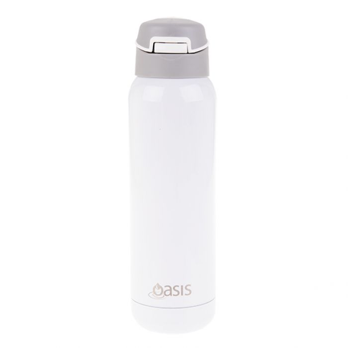 Oasis Stainless Steel Insulated Sports Water Bottle 500ml w/ Straw WHITE( NEW)
