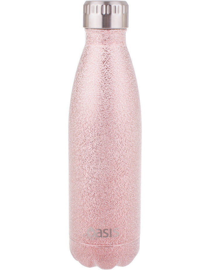 Oasis Shimmer S/S Double Wall 500ml insulated Drink Bottle ~ Blush Pink