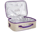 So Young Insulated lunch box Purple Dandelion - Raw Linen ( NEW)
