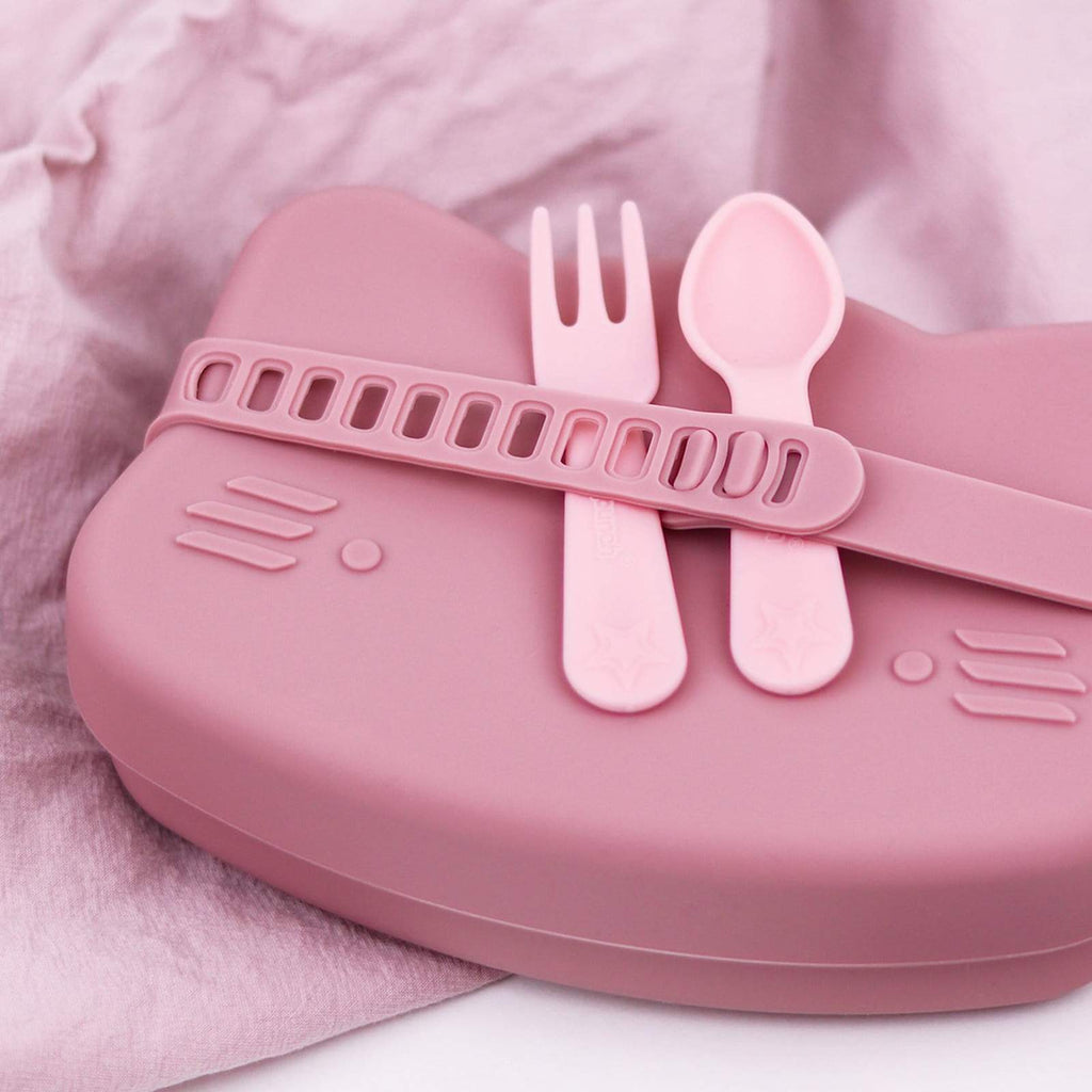 Lunch Punch Fork & Spoon Set ~ Pink