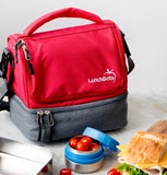 LunchBots Duplex Lunch Bag - Gray and Red ( NEW colour )