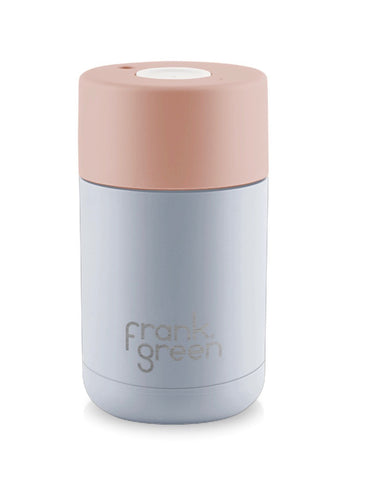 Frank Green Stainless steel Smart Cup 10 oz  ~ Harbour Mist with Nude Rose