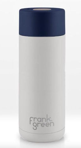 Frank Green Stainless steel Smart Cup 20 oz  ~ Coconut Milk with Sailor Blue
