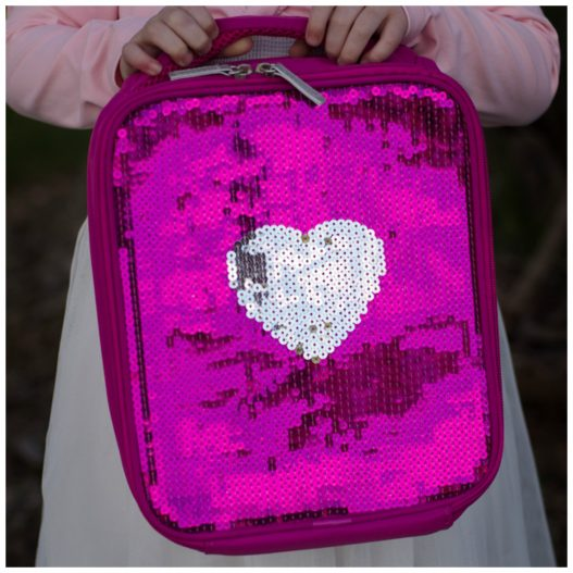 Giggle Me Pink ~ Sequin Heart Lunch Bag