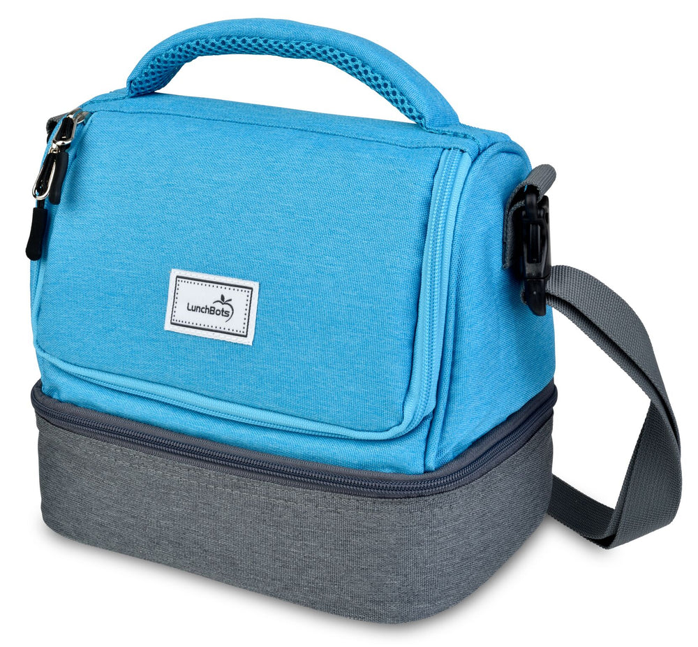 LunchBots Duplex Lunch Bag - Gray and Aqua ( NEW colour)