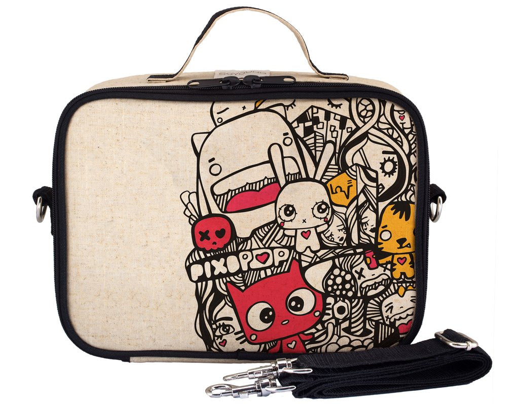 So Young Insulated lunch box -Pixopop Pishi and Friends  - Raw Linen