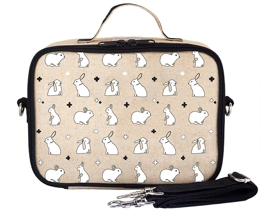 So Young Insulated lunch box -Bunny Tile  - Raw Linen
